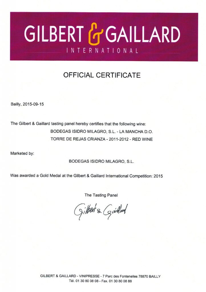 Vino Tinto Torre de Rejas Crianza. Certificado Gilbert Gaillard Medalla de oro 2015