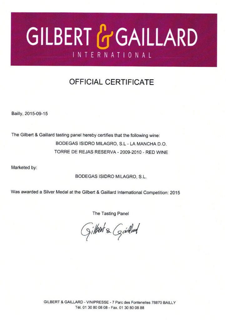 Vino Tinto Torre de Rejas Reserva. Certificado Gilbert Gaillard Medalla de plata 2015