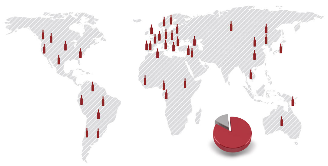 Mapa exportaciones de Bodegas Isidro Milagro