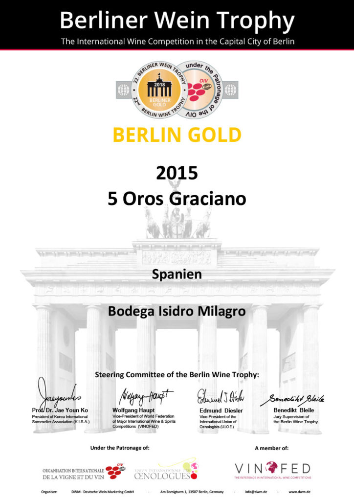 Premio Berlin Gold 2015 5 Oros Graciano
