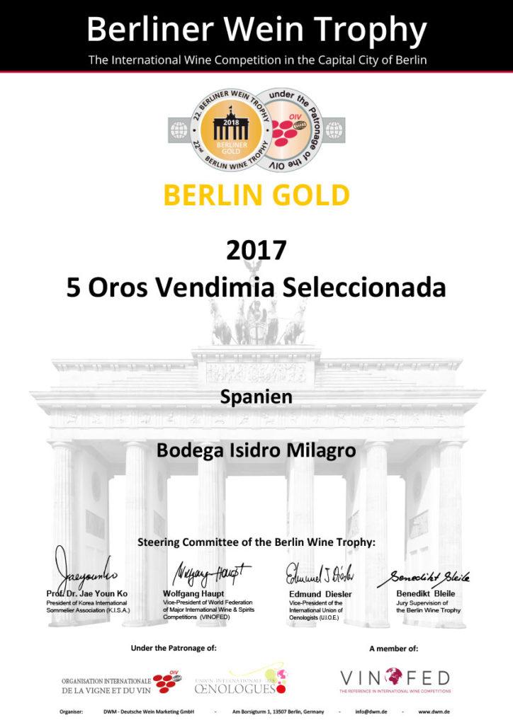 Premio Berlin Gold 2017 5 Oros Vendimia Seleccionada