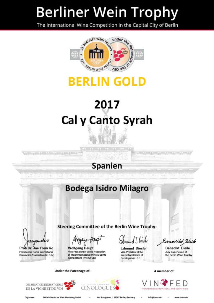Premio Berlin Gold 2017 Cal y Canto Sirah
