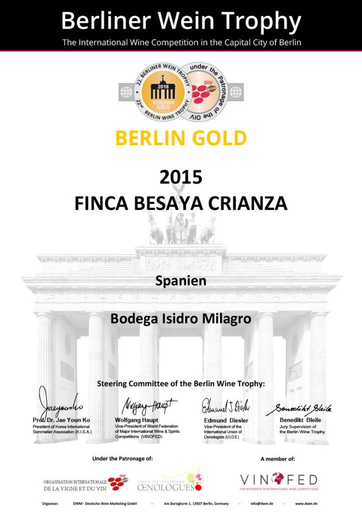 Premio Berlin Gold 2015 Finca Besaya Crianza